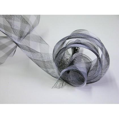 modistická krinolína 16cm/0,5m kostkovaná černobílá šikmo tkaná stuha