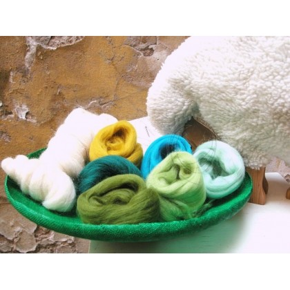 JARO - sada ovčí vlny na plstění rouno mix zelené