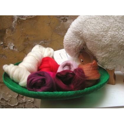 LéTO - sada ovčí vlny na plstění rouno mix červené
